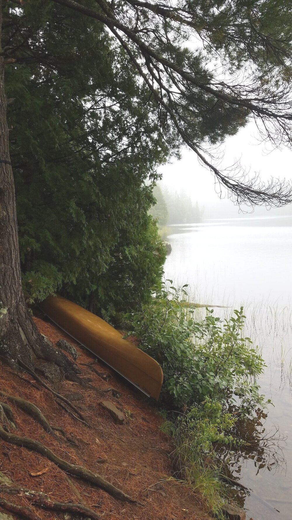 Canoe by the water in the BWCA