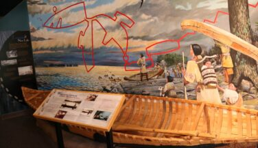 Canoe map and scene of native people at Bois Fort
