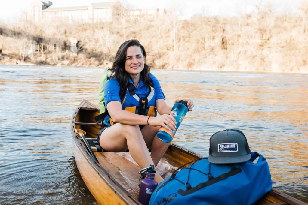 Natalie Warren in a canoe