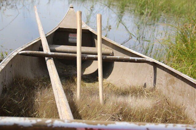 Canoe containing rice and harvesting tools