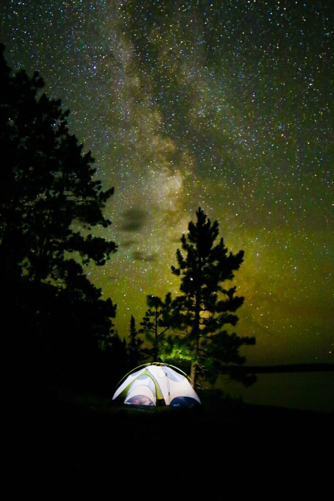 Milky Way over a tent in the BWCA