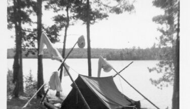 Black and White photo of canvas tent in the BWCA